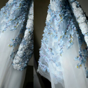 0.5Y 3D Flowers Chiffon Lace Fabric Tulle Organza Wedding Bridal Dress DIY Fairy