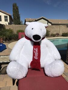 "Extra Large 30"" Coca-Cola Coke Polar Bear Plush with Red Scarf"