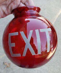Antique Ruby Red Glass Round Exit Globe w/Ground Lip Mint