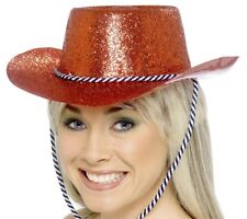 Red Glitter Cowboy Hat Adults Fancy Dress Acessory Wild West Rodeo Hat