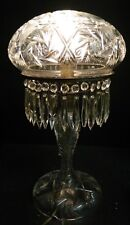 "Vintage Mushroom Cut Crystal Electric Lamp w/ 32 Hanging Crystals 18.5"" x 9"" VG"