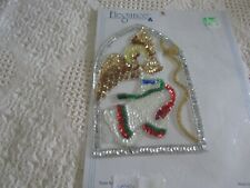 New listing Christmas White Angel W/Horn Bead/Sequin Applique Sew-On Sequined Patch 4x6 Nip
