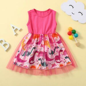 Toddler Kids Baby Girls Sleeveless Patchwork Dinosaur Tulle Dress Party Princess