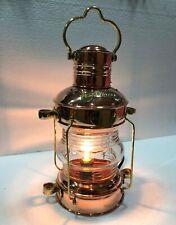 "Nautical Antique 14"" Ship Lamp Boat Copper Brass Electric Lantern Home Decor"