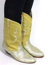 Leder Vintage Stiefel Damenstiefel Hipster Metallic Biondini Westernstiefel 39