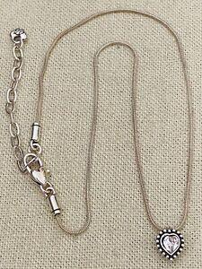 "Brighton Silver Tone Dainty Heart Crystal Pendant Necklace 15.5""-18"""