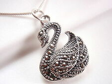 Swan Marcasite Necklace 925 Sterling Silver Corona Sun Jewelry avian pond bird