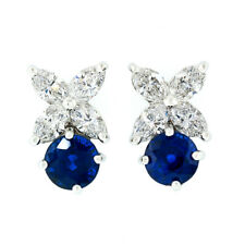 Tiffany & Co. Victoria Platinum & Gold Sapphire Marquise Diamond Flower Earrings