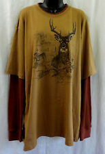 Reel Legends Men T Shirt Size XL NWT Multi Deer 100% Cotton Long Thermal Sleeve