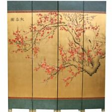 Oriental Folding Screen - Cherry Blossom on Gold Room Divider (SN4-BLSN)