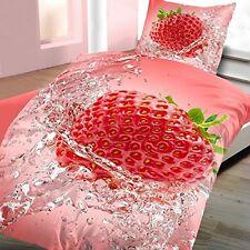 2tlg Baumwolle Renforce Bettwäsche Erdbeere Rot Grün 135x200 cm NEU 3D-Druck RV