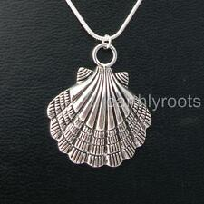 "Camino de Santiago Pilgrim Shell Pendant with 16"" Sterling Silver Snake Chain"