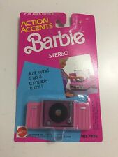 NIP Mattel 1989 Barbie Action Accents Wind Up Stereo Turntable 80s Record Player