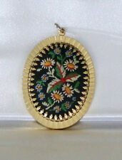 Vintage~Hand Embroidered~Floral~Daisies~Gold Tone Pendant~Beautiful !!!