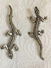 Sterling Silver Florentine? Long Up Down Gecko Lizard Post Earrings