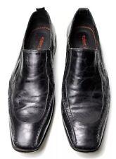 Robert Wayne Portland Men's 9 M Black Leather Loafers Formal Slip On Shoes EU 42