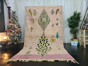 "Moroccan Handmade Boujad Berber Rug 5'5""x9'4 Purple Geometric Tribal Wool Carpet"