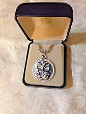 """CREED ST. MICHAEL ROUND MEDAL Stainless Silver 24"""" Chain, Gift Boxed  NEW-82739"""