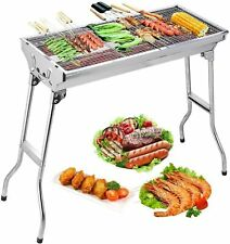 Folding Charcoal BBQ Grill Stainless Steel Outdoor Picnic Cooking with Skewers