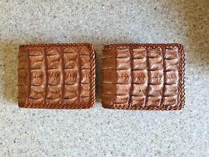 Genuine handmade crocodile leather hornback skin bifold wallet