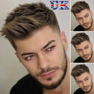 Mens Short Real Natural Straight Layered Hair Wig Daily Full Wigs Realistic ~