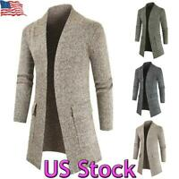 US Mens Winter Warm Trench Coat Knitted Long Jacket Sweater Outwear Overcoat Top