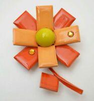 Minimalist flower brooch pin, orange yellow enamel, floral vintage jewelry 1960s