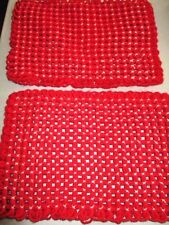 "2 Vintage Homemade RED KNIT Looped WHITE TIED Holiday PLACE MATS 15.5"" x 10.5"""