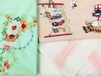 Vintage Cat Kitten Stripes Floral Sheet Mismatched Set Springs Perma-Prest Twin