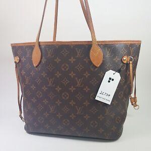 Auth Louis Vuitton Neverfull MM Monogram Fuchsia M40996 No Inner Pouch Bag LC734