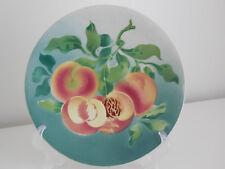 RARE French plate Majolica signed Saint Amand Hamage : Peaches