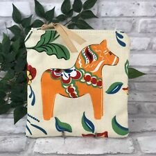 Swedish Dala Horse Ivory / Ecru Orange Dalahäst  Kurbits Zipper Pouch Makeup Bag