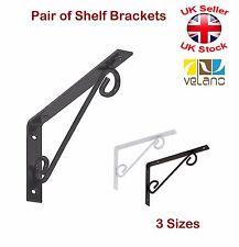 2 X Decorative Shelf Supports Metal Ornamental Brackets White or Black 3 Sizes 250x125 Mm Black