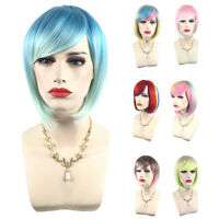 Women Bob Straight Ombre Wig Cospaly Wig Synthetic Hair Full Wigs Costume 8Color
