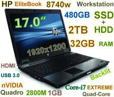 """(3D-Design) HP 8740w i7-EXTREME (480GB-SSD + 2TB HDD 32GB) 17"""" nVIDIA HDMI USB-3"""