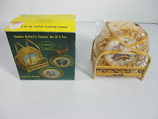 Vintage Bamboo Butterfly Coaster set of 6 NEW by Gail Craft Style #257