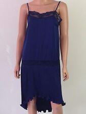 Haute Hippie Dark Blue Spaghetti Straps Pleated Asymmetric Hem Dress Sz S