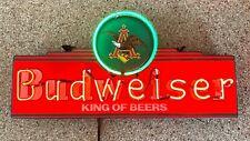 """(Vtg) Rare Vintage Budweiser Beer Neon Light Up Sign Eagle 30"""" Bar Decor"""