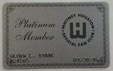 Vtg Collectible Official Whitney Houston Fan Club Platinum Member Card Souvenir