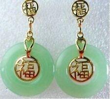 Stunning Jewellery Green Jade Fortune Earrings AAAA