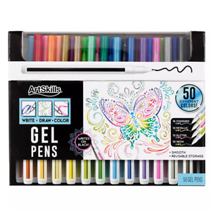 ArtSkills Fine Point Gel Pens Assorted Art Set, 50 Unique Color Drawing Pens
