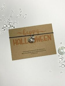 Halloween Wish Bracelet, Pumpkin String Bracelet, Trick or Treat gift for kids