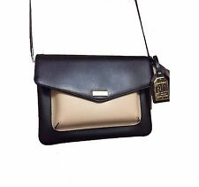 NWT Ralph Lauren Bramley Messenger Stone Smooth & Black Pebbled Crossbody Purse