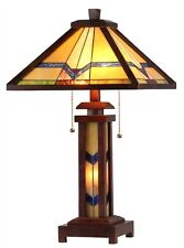 Mission Arts & Crafts Design Tiffany Style Stained Glass Wood Frame Table Lamp