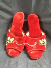 1940s Red Velvet Wedge Shoe or Slipper with Glass beads Floral Detail As Is