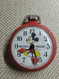Vintage 1970s, Bradley Red Mickey Mouse Pocket Watch Hand-Wound