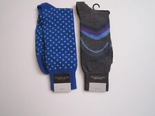 BLOOMINGDALES 2 Pair MENS   SOCKS  NWT ITALY Blue Grey