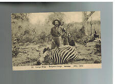 1920 Belgian Congo RPPC Cover to Belgium postcard Hunter with Zebra