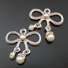 10pcs Rose Gold Alloy Metal Bow Shaped Charms For Necklace Pendants Crafts 23mm