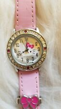 HELLO KITTY Sanrio 2016 Crystal Encrusted Women's Watch Pink Band -Needs Battery